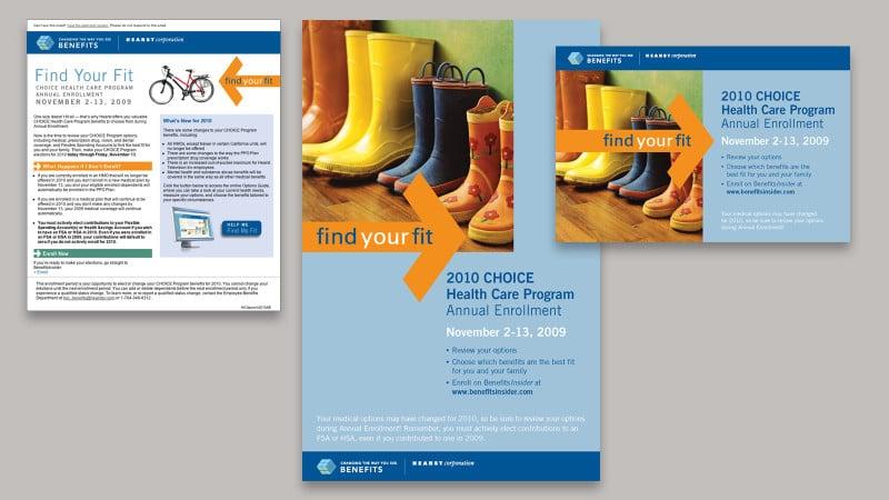 Benefits program email, poster, postcard